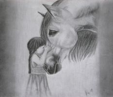 Molly Kissing a Horse by Kim1486