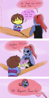 Tea with Undyne by VickyViolet