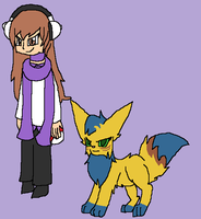 Pokemon Trainer and Pokemon by rosetheeevee12