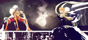Ichigo VS Luffy Wallpaper by papanchi