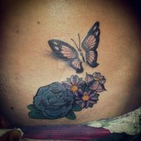 flower n butterfly cover up by Malitia-tattoo89
