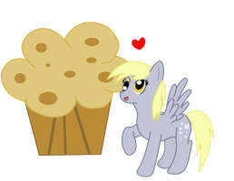Derpy and the giant muffin by Bonaldo-Kun