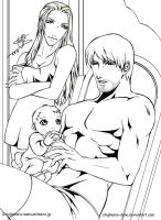 Trish +Dante +Baby DMC outline by Mon-Kishu