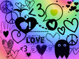 Hearts.Love.Peace GIMP Brushes by MyLastBlkRose