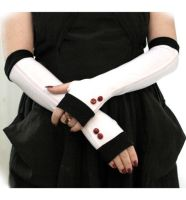 White and blackgloves with shiny cherry  buttons by WearMeUp