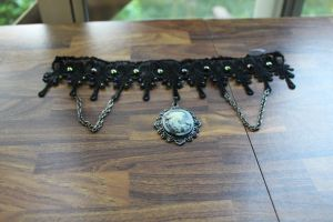 Black Venice Lace Choker With Cameo Pendant by DanikaMilles