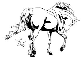 Horse Outline -- One by Anaeo-vale