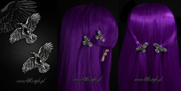 Black Diamond Raven Hairclips by Euflonica