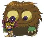 Little Kuriboh LOVES his Chibi Atemu by Danni-Stone