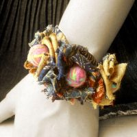 Silk Batik Flower Bracelet by popnicute
