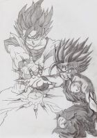 Goku and Gohan Kame-hame-ha by davidlatorre