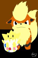 Good times - Growlithe and Togepi by MeowmeowWarior