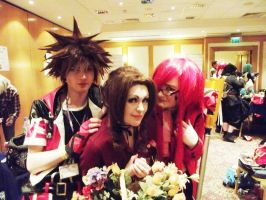 Aerith, Sora and Grell - Anime Dublin 2013 by Aerithflowergirl5678