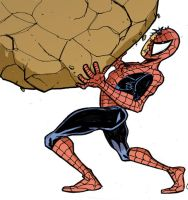Spidey with a rock by phillip-r