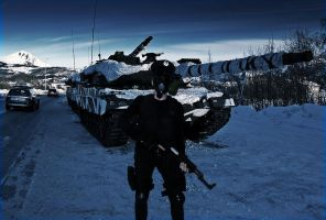 Posing with a t-90 by Emersonpriest