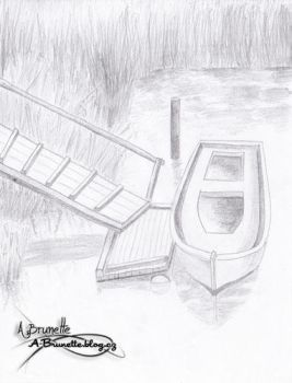 Drawing of boat in landscape by A-Brunette