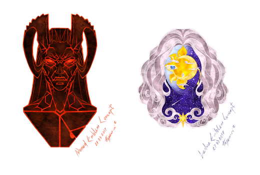 Emblem Concepts For the Cities Of Ledna and Nomed by Fayen-ri