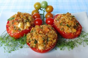 Feta-Stuffed Tomatoes by Kitteh-Pawz