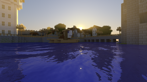 Minecraft Render: Harbor Sunrise by dak47922