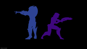 ME3 Garrus Vakarian and Tali'Zorah back to back by QuortaZ