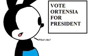 Oswald sees poster of Ortensia for President by ElMarcosLuckydel96