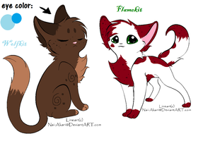Flamekit and Wolfkit refs by owls1999