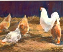 Chickens in the Barn Yard by Wulff-Arts