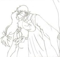 Miroku and Sango kissing by IWantDumplings