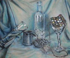 blue still life w cube by cubpenguin