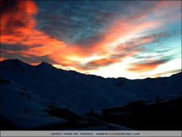 Sunset from Val Thorens by hombre-cz