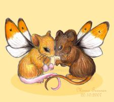 Two little mice by Amarathimi