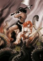 Conan and Red Sonja by gilgui