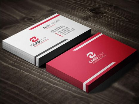 Bright Vivid Red Modern Business Card Template by mengloong