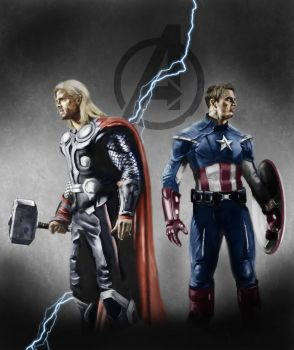 Thor and The Captain by nicadom