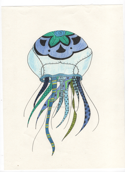Zentangle Jellyfish Colored by Persephone30