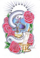 Sugar skull style tattoo design by PixieMeat96