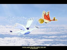 Lugia and Ho-oh into the sky by Archon89
