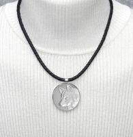 Good Spirit Wolf Coin on Nappa Leather Necklace by dlstancel
