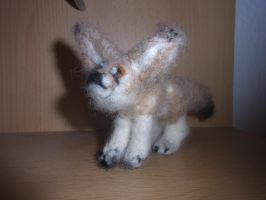 Needle felted standing fennec fox plushie by ArcticIceWolf