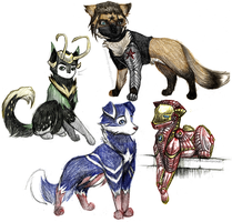 some super hero woofs by DragonTygress