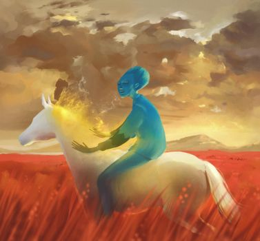 Blue figure in Red Grass by Etve