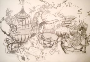 Alice in wonderland tea party by Thujee