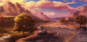 Matte painting: Road by SlaveofDesign