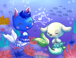 Singing Animalmermaids under the sea by fuwante-chan