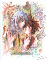Kingdom Hearts-- Sora X Riku by emilynguyenart
