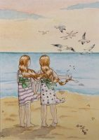 Twins on the beach by erinclaireb