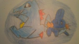 Totodile and Mudkip by KestrelStarYT