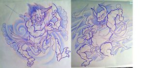 raijin and fujin by michaelbrito
