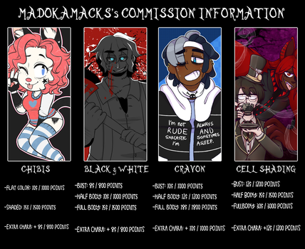 Mack's Commission Chart: CLOSED! by MadokaMack
