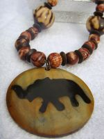 Wooden Elephant Necklace by kjtgp1